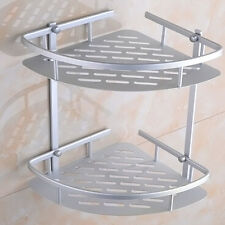 Aluminum Dual Tier Shower Caddy Shelf Bathroom Corner Rack Storage Towel Holder