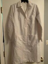 Medline Women's Full Length White Long Sleeve Lab Coat Size S