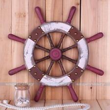 "15"" Nautical Wooden Steering Wheel Ship Fishnet Beach Vintage Style WALL Decor"
