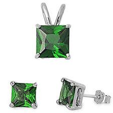 Princess Cut Green Emerald .925 Sterling Silver Earrings & Pendant Set
