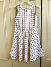 Gymboree Posh & Playful Windowpane/ Grid Girl's Light Gray/ Black Dress Sz 7 US