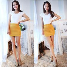 Women's Sexy YELLOW Mini Skirt Slim Stretch Tight Short Fitted Clubwear Skirt
