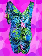 135✪ Neon Psychedelic Twiggy Hippie Kleid Kostüm 60er 70er Jahre Pop Art Gr S