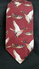 Ducks Unlimited Tie L 57 Wide Classic Maroon Ducks Silk USA Vintage NWOT New