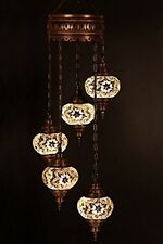 Chandelier Ceiling Light Turkish Lamp Hanging Mosaic Lantern White Pendant Glass