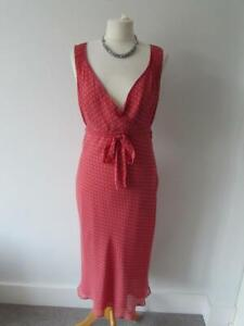 L.K BENNETT Ladies Pink Spotty Pure Silk Empire Line MIdi Dress Belt Size 12 VGC