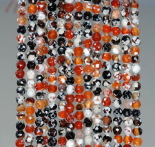 """4MM  AGATE GEMSTONE ICE MULTI COLOR FACETED ROUND LOOSE BEADS 15"""""""