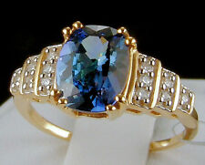 2.32ct Bi-Color Tanzanite Solitaire with Diamonds 14k Solid Gold Ring, Size 6