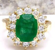 4.00 Carats Natural Emerald & Diamond 14K Solid Yellow Gold Ring