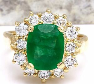 4.00 Carats Natural Emerald & Diamond 14K Solid Yellow Gold Ring