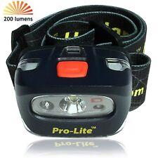 Headlamp Pro-Lite Bright 200 lumen LED Headlight w/ Emergency Whistle, Red Flash