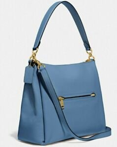 COACH 93811 Shay Shoulder Bag Lake Blue/Brass