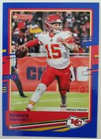 2020 Panini Donruss NFL Patrick Mahomes II #1 Blue Press Proof Kansas Chiefs