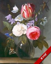 ROSES & TULIPS FLOWERS IN A GLASS VASE PAINTING ART REAL CANVAS GICLEEPRINT