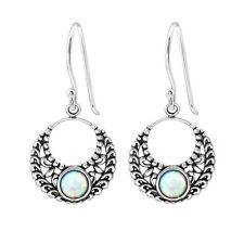 TJS 925 Sterling Silver Earrings Hook Antique Bali Round Dangle Fire Snow Opal