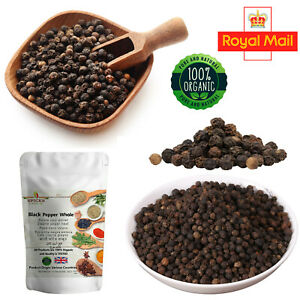 100% Pure Organic Black Peppercorns Pepper Whole Kali Miri Mari A-Grade Spice UK