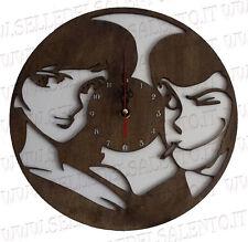Orologio muro parete Lupin è Margot in legno mm 8 laser co2 design artigianale