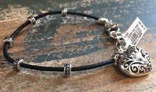 Brighton SOFI leather cord silver & Swarovski crystal Heart charm BRACELET NWT