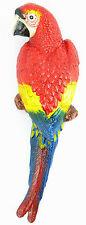 Wall Figurine Parrot Deco Figure Sculpture Bird ARA Cast Iron Garden Statue Red