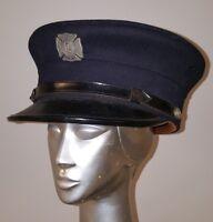 VINTAGE ANTIQUE 1930s FIREMAN CAP BADGE BLUE ISLAND IL GOLDBLATT BROS CHICAGO