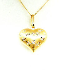 9CT HALLMARKED YELLOW GOLD DIAMOND CUT PUFFED HEART PENDANT - CHAIN OPTIONAL