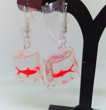 SWIMMING GOLDFISH drop earrings ,FUNKY FISH jewellery FISH IN BAG earrings OR