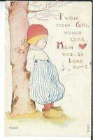 CH-066 I Vish Mein Girl, Valentine Heart Dutch Boy Divided Back Postcard