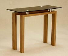 Console Hall Side Display Table Rectangle Black Glass Top Oak Finished Frame