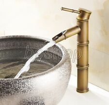 Antique Brass Bathroom Bamboo Style Waterfall Sink Faucet Mixer Tap san016