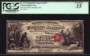 $5 Original Series First National Bank of Charlotte, North Carolina PCGS 35