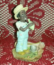 Vintage African American / Black Boy w/Turtle / Fishing Figurine - Resin?