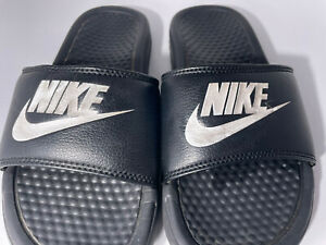 Nike Boys Size 5  Benassi JDI  Slide Black White 343880-090 Swoosh Logo