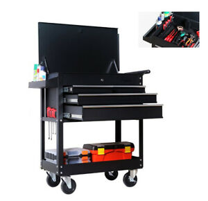 3 Drawers Movable Pulley Plate Black Rolling Tool Cart Auto Repair Srotage Rack