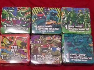 Lot of 6 Teenage Mutant Ninja Turtles TMNT Magic Towels Washcloths, Design Vary
