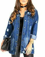 Denim Jacket Womens Jean Jackets Ladies Ripped Distressed Size 8 18 (RRP 49.99)