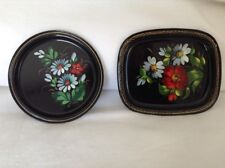 TWO Antique Vintage Hand Painted Tole Painted Toleware Trays FLOWERS nice!