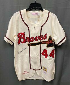 Hank Aaron #44 Signed Braves Mitchell & Ness Jersey AUTO Sz 40 JSA WITNESSED COA