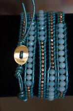 NEW AUTH Chan Luu Blue Semi Precious Stone Gold Vermeil 5 Wrap Leather Bracelet
