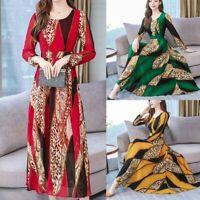 Women Fashion Slim Long Dress O-Neck Long Sleeve Leopard Print Casual Maxi Dress