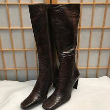 Enzo Angiolini Ranetta Brown Snake Print Leather Knee High Boots Side Zip 7.5 M