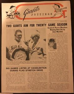 1966 SAN FRANCISCO Giants Jottings NEWSLETTER Juan MARICHAL Willie MAYS Perry
