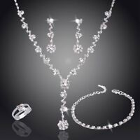 Fashion Crystal Necklace Earrings Bracelet Ring Jewelry Set Mother's Day Gift