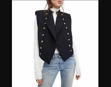 NEW FREE PEOPLE Women's Military Embellished  Cropped Wool Vest Dark Navy 8