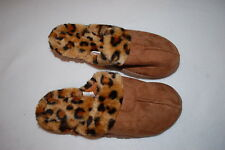 Womens Chestnut Brown Slippers Faux Fur Lined Leopard Print Rubber Sole S 5-6