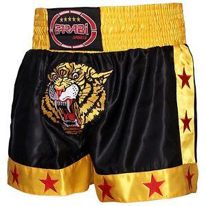 Farabi Muay Thai Kick Boxing Training Satin Black Gold Short Tiger Embroidery