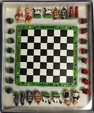 SMALL DUTCH CHESS BOARD WITH 32 PLAYING PIECES  #20412