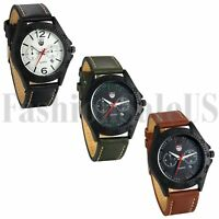 INFANTRY Mens Quartz Wrist Watch Analog Army Sport Black Brown Green Leather US