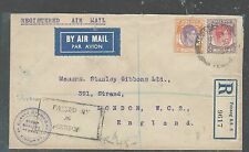 MALAYA STRAITS SETTLEMENTS (PP2508B) KGVI 30C+40C CENSOR A/M 6 OC,, 1939 TO GIBB