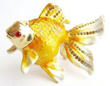 """Goldfish"" Beautiful Jewelled & Enamelled Fish Trinket Box or Figurine"