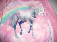 Beautees Girls Size Large Pink Fleece Top Unicorn Graphic On Front NWT Free Ship